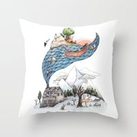 camus Throw Pillows featuring Invincible Summer by Brooke Weeber