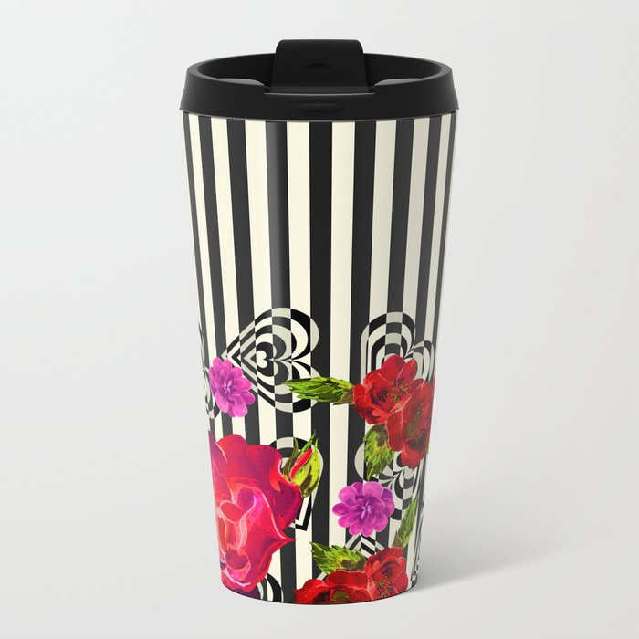 Flowers with Stripes and Hearts Metal Travel Mug