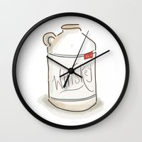 whiskey Wall Clocks featuring Whiskey Illustration  by Old South Inkery