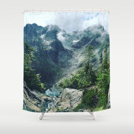 Mountain through the clouds Shower Curtain