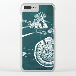 D Superbike 1299 Panigale 2015 green blueprint Clear iPhone Case