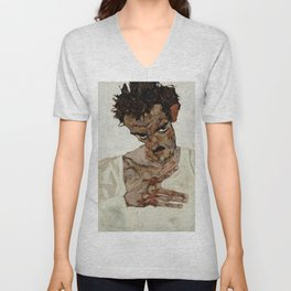 "Egon Schiele ""Self-Portrait with Lowered Head"" Unisex V-Neck"