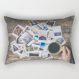 Polaroids prints on a wooden table Rectangular Pillow