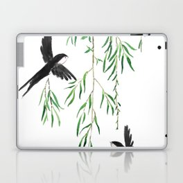 green willow leaf and swallow watercolor Laptop & iPad Skin