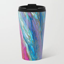 AGATE MAGIC PinkAqua Red Lavender, Marble Geode Natural Stone Inspired Watercolor Abstract Painting Travel Mug