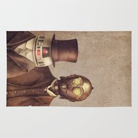 victorian Area & Throw Rugs featuring Victorian Robots  by Terry Fan
