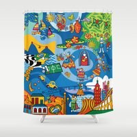brazil Shower Curtains featuring Mix Brazil by Monica Fuchshuber