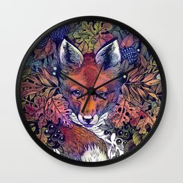 Hiding fox rainbow Wall Clock