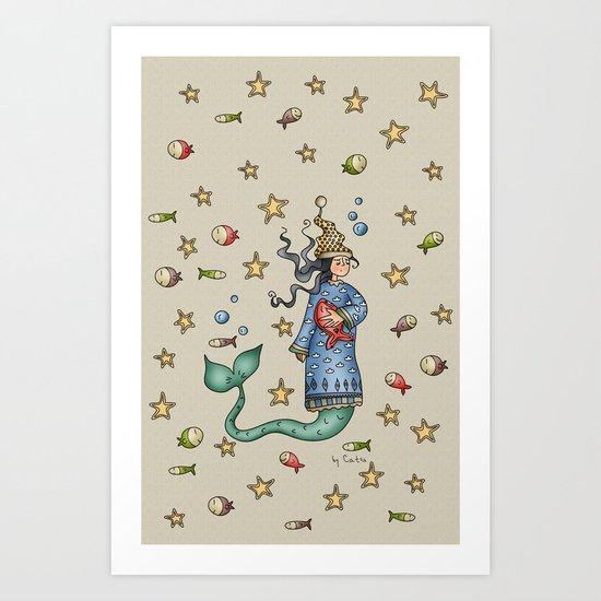 Mermaid {Sleepy} Art Print