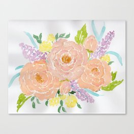 Loose Spring Floral watercolor bouquet Canvas Print
