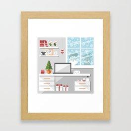 Christmastime office interior Framed Art Print