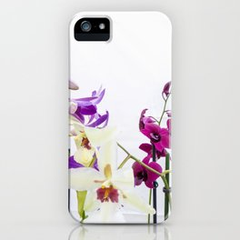 Different orchid plants on white background iPhone Case