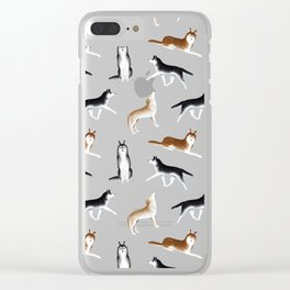 Husky Pattern (Blue Gray Background) Clear iPhone Case