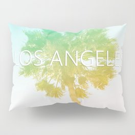 Retro Vintage Ombre Los Angeles, Southern California Palm Tree Colored Print Pillow Sham