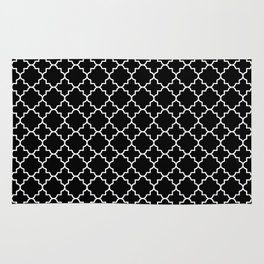 White on Black Quatrefoil - Baby Stimulation Pattern Rug