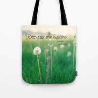 jane austen Tote Bags featuring Happiness Jane Austen by KimberosePhotography