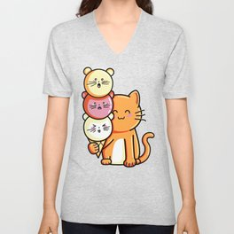 Kawaii Cute Cat and Micecream Unisex V-Neck