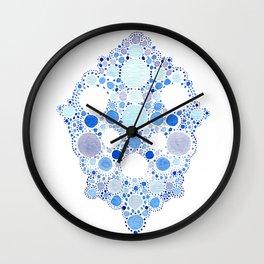 Blue Watercolor Dots Wall Clock