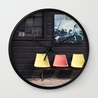 posters Wall Clocks featuring Seats outside Heritage Posters by RMK Creative