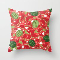 watermelon Throw Pillows featuring Watermelon by Ornaart