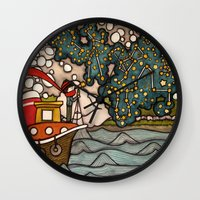 constellations Wall Clocks featuring Constellations by Love on a Bike
