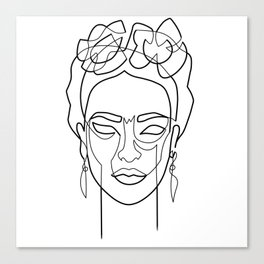 Woman Hair Dos Drawing in One Line Canvas Print