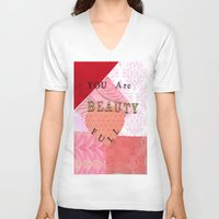 valentines V-neck T-shirts featuring Valentines by Patty Haberman