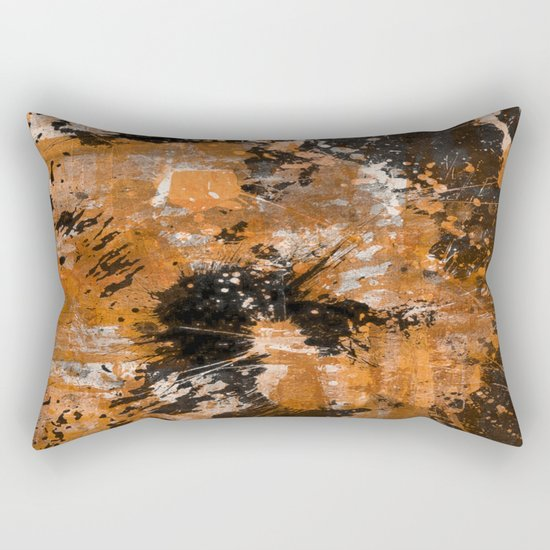 Rusting Darkness - Abstract in gold, black and white Rectangular Pillow