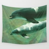 dolphins Wall Tapestries featuring Two Dolphins by Roger Wedegis