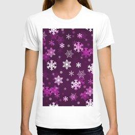 Dark Lilac Snowflakes T-shirt