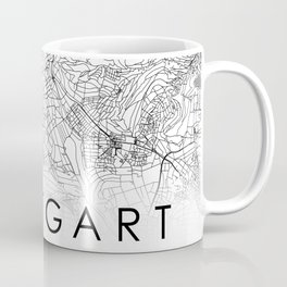 Stuttgart City Map Germany White and Black Coffee Mug