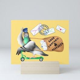 Pigeons Express (Yellow Background) Mini Art Print