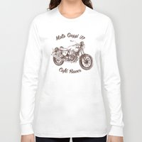 cafe racer Long Sleeve T-shirts featuring vintage moto guzzi - cafe racer by dareba