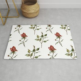 Loose Watercolor Rosebuds Rug