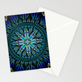 Blue fantasy flower and petals Stationery Cards