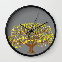 apple tree with yellow leaves  and apples Wall Clock