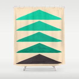 Colorful Turquoise Green Geometric Pattern with Black Accent Shower Curtain