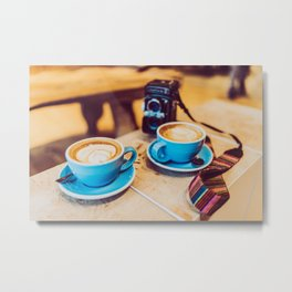 Cameras and Coffee Metal Print