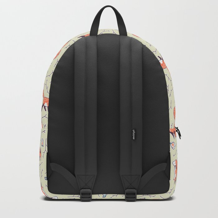 Fox and Bird Pattern Backpack