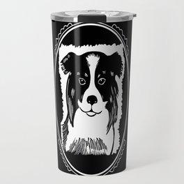 Border Collie Deco Border Black & White Art Travel Mug