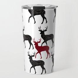 Red, black christmas deers Travel Mug