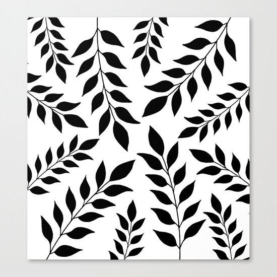 Black Leaves Pattern Canvas Print