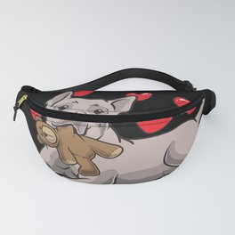 Thai Ridgeback Dog With Stuffed Animal And Hearts Fanny Pack
