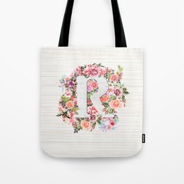 Initial Letter R Watercolor Flower Tote Bag