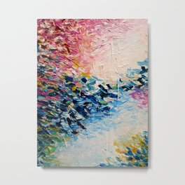 PARADISE DREAMING Colorful Pastel Abstract Art Painting Textural Pink Blue Tropical Brushstrokes Metal Print