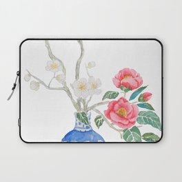 red camellia  flower white plum flower in blue vase Laptop Sleeve