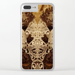 206 Vintage Lace in Shades of Brown Clear iPhone Case