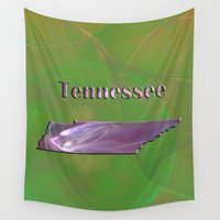 tennessee Wall Tapestries featuring Tennessee Map by Roger Wedegis