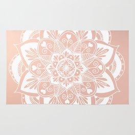 Flower Mandala on Rose Gold Rug