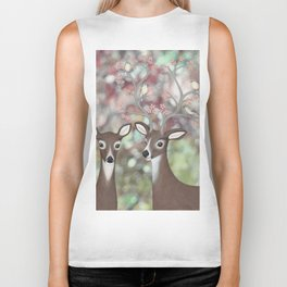 white tailed deer, warbling vireos, & cherry blossoms Biker Tank